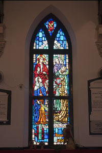 The stained glass windows were amazing in detail