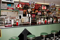 The soda bar was built in 1939 and brought in from Louisville, KY